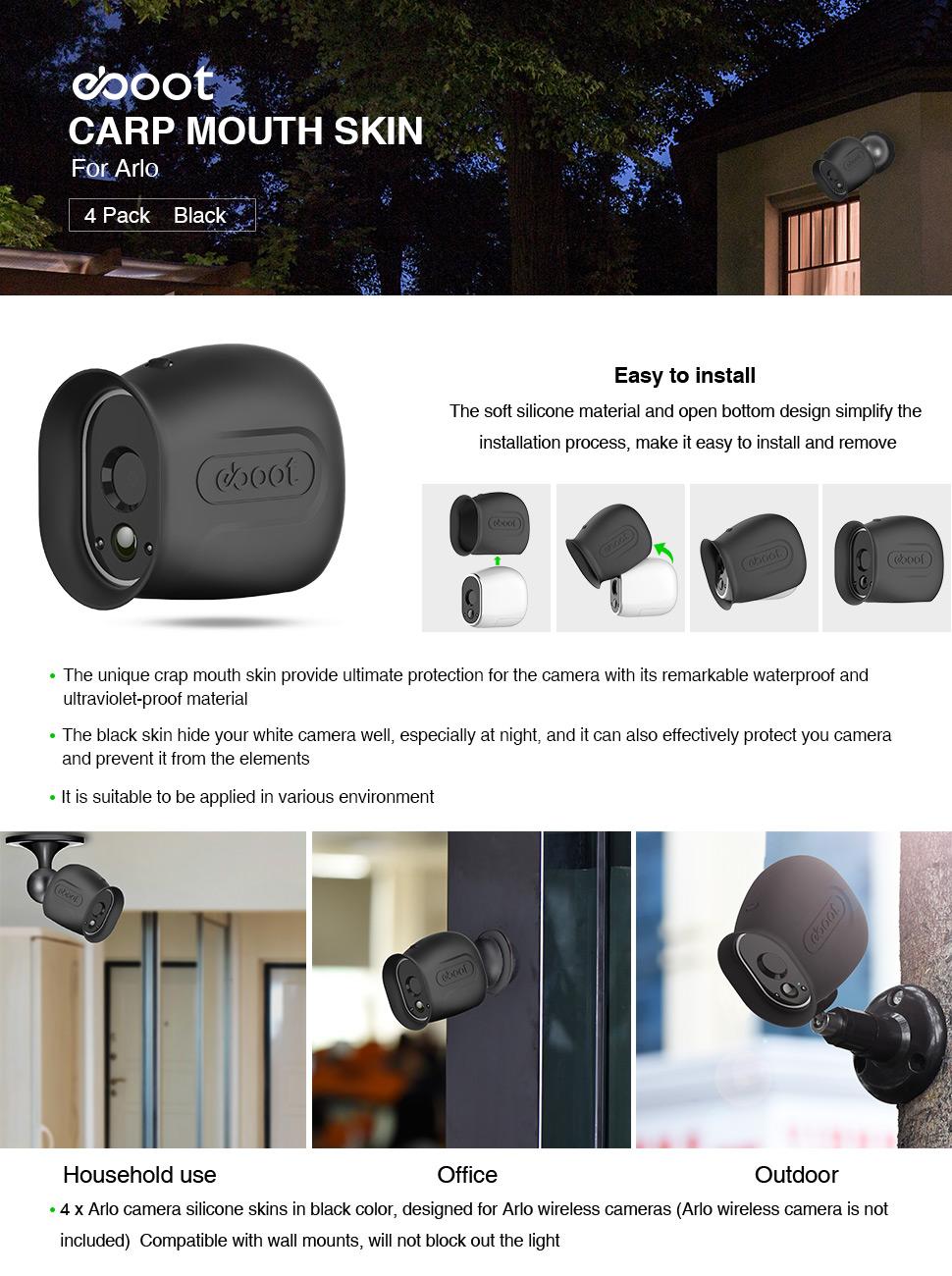 4 Pack, Nero Eboot pelli in silicone per Arlo Smart Filo-Free Security fotocamere