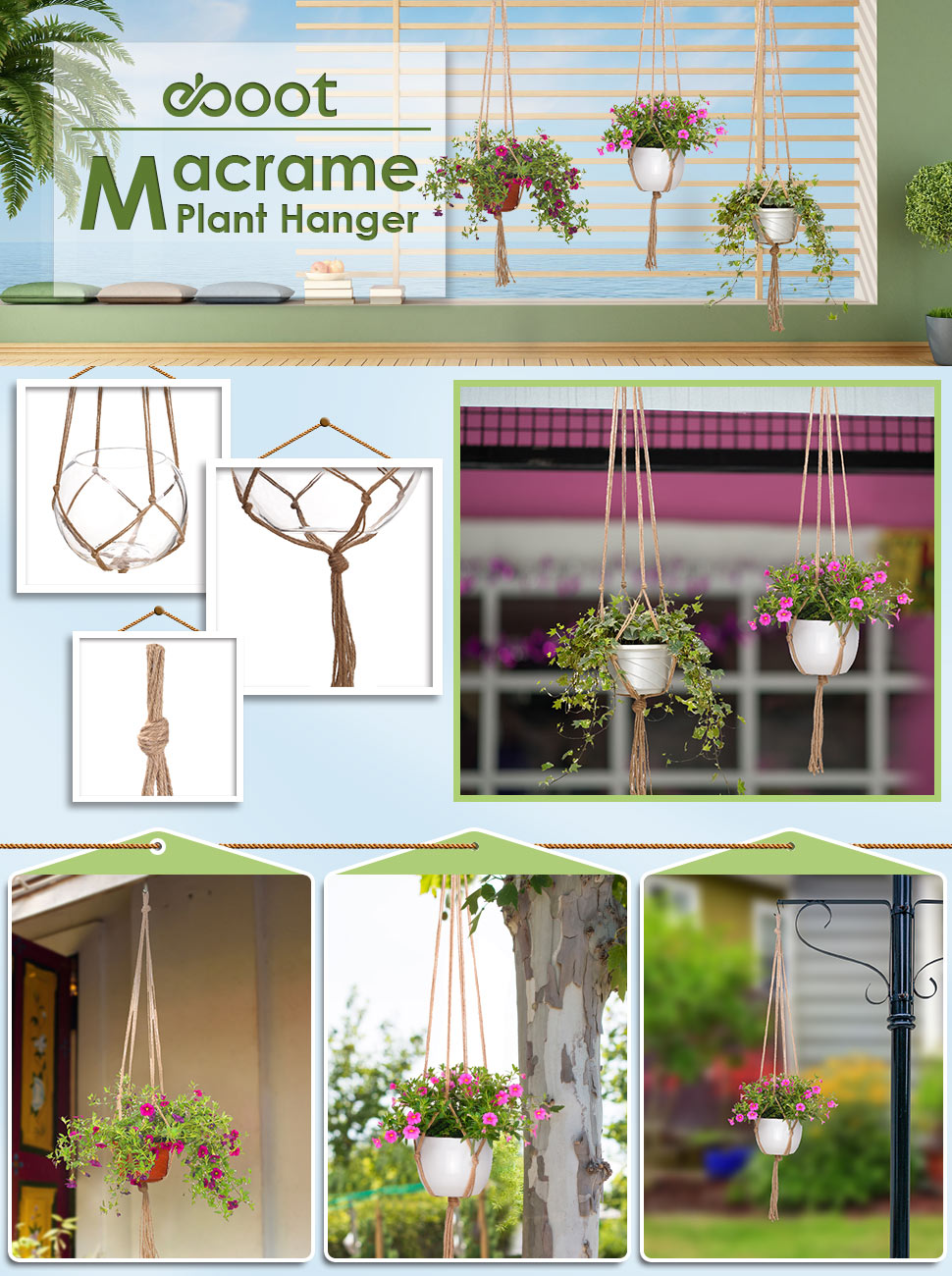 Widely Applied In Any Indoor And Outdoor Use.Make The Flower Pot More  Fabulous With These Vintage Style Plant Hanger When Hanging At The  Ceiling,balcony ...