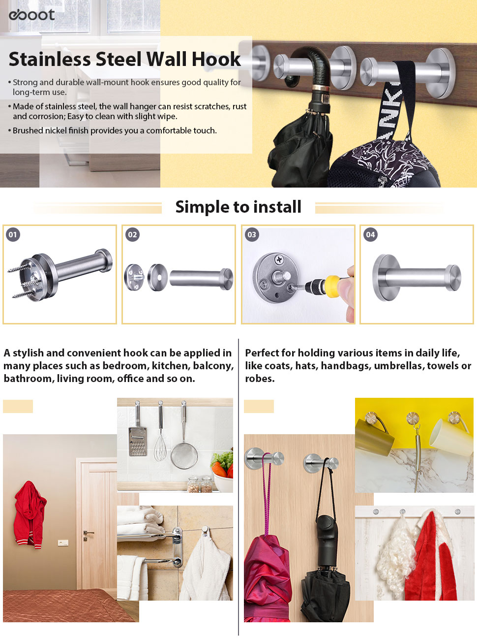 Satin stainless steel wall mounted hook - The Simple Wall Hook Is Designed For Home Storage And Organization Saving Space And Looking For Something Quickly