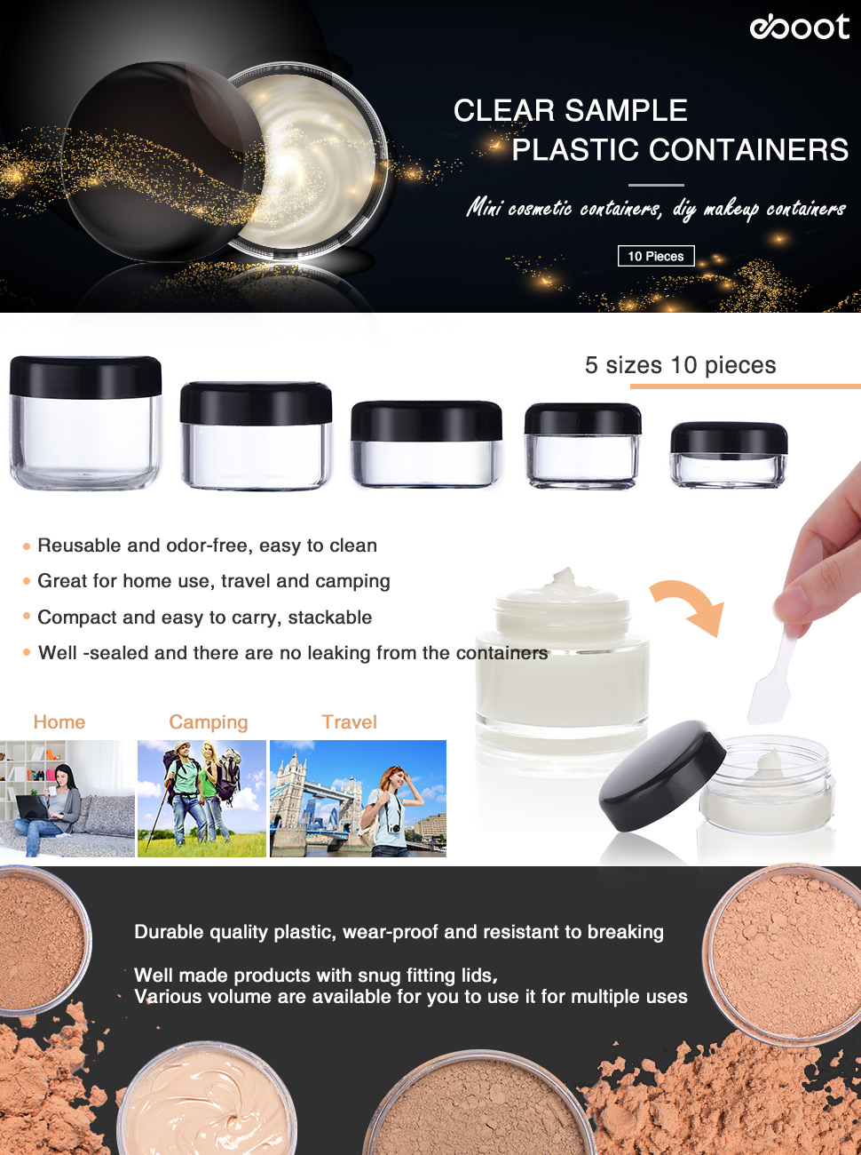 Eboot 10 Pieces Empty Clear Plastic Sample Containers 3 Ql Cosmetic Eyebrow Cream 15 Gr 5 20 Gram Size Round Pot Jars With Black Screw Cap Lids And 2 Mini Spatula