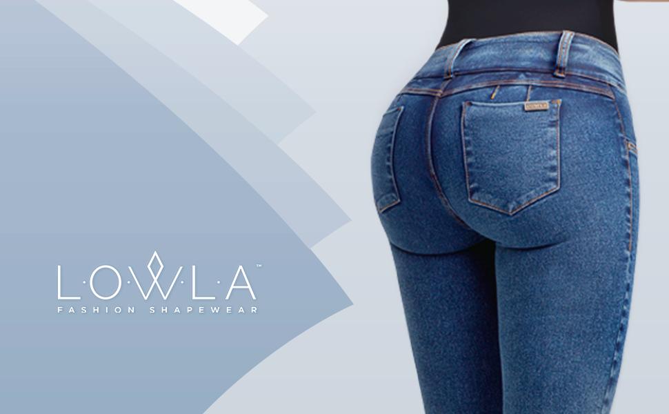 4f0405d4c Lowla Women Colombian Mid Rise Skinny Butt Lifter Jeans Pantalon Levanta  Cola