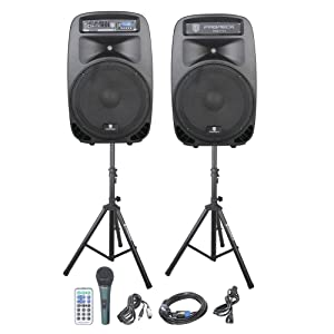 PRORECK PARTY 15 Portable 15-Inch 2000 Watt 2-Way Powered PA Speaker System  Combo Set with Bluetooth/USB/SD Card Reader/FM Radio/Remote Control/LED