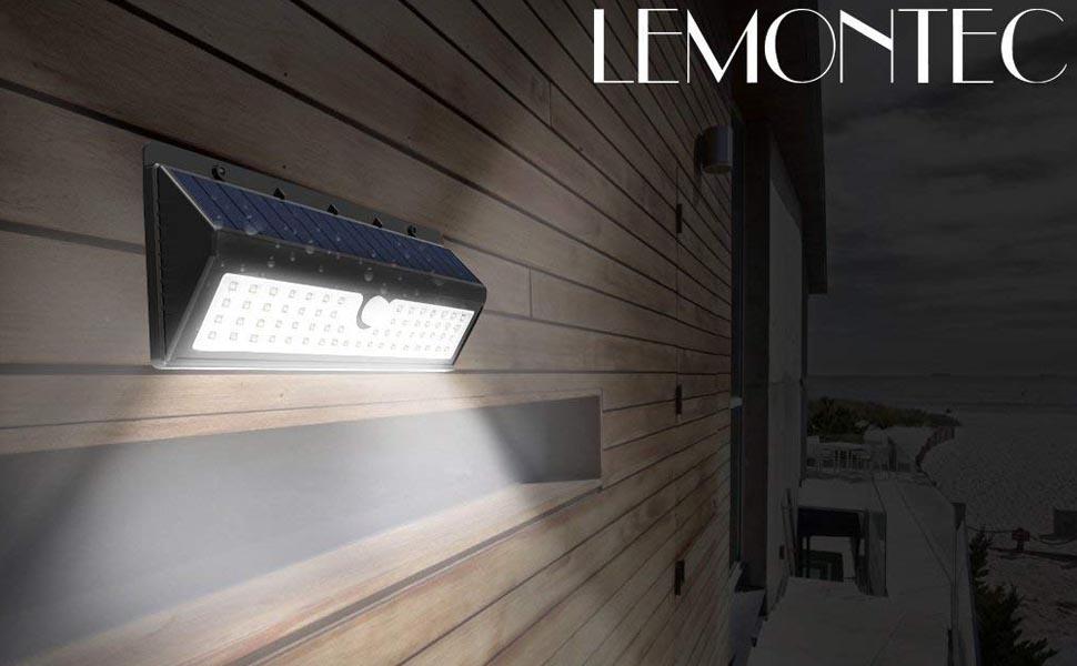 big sale 6f42d fd0e0 Lemontec Solar Lights, 62 LED Wall Solar Light Outdoor Security Lighting  Nightlight with Motion Sensor Detector for Garden Back Door Step Stair  Fence ...