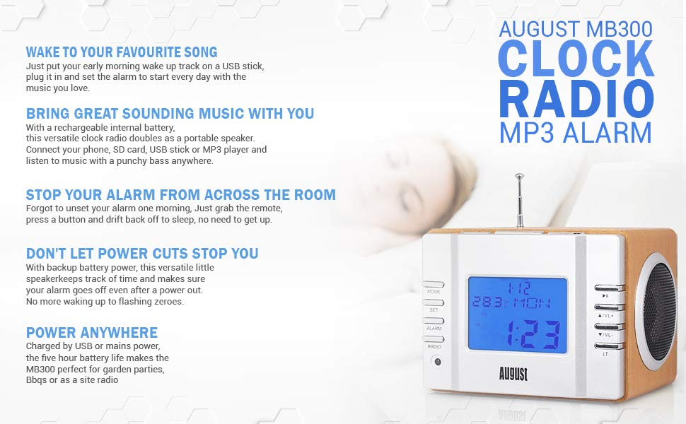 481deadee06f Amazon.com  August MB300 Mini Wooden MP3 Stereo System and FM Clock ...