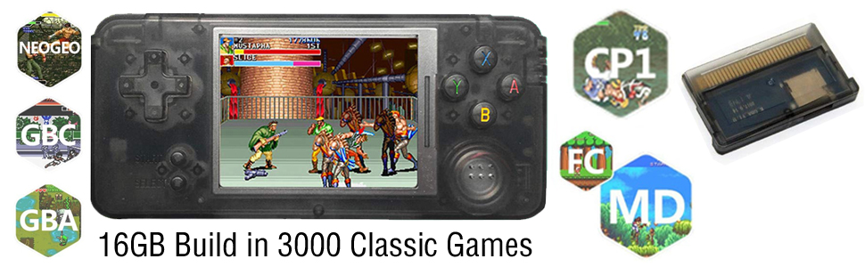 FLYFISH Portable Handheld Game Console, Retro FC Game Console 3 Inch 168 Classic Games , Birthday Present for Children -Yellow
