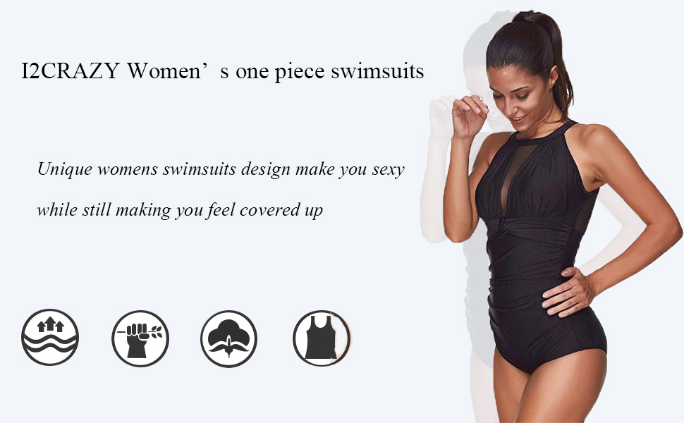I2CRAZY Women One Piece High Neck V-Neckline Mesh Ruched Monokini Swimwear