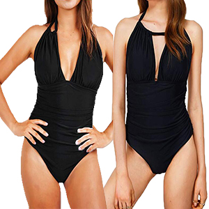 Womens One Piece Swimsuits for Women Tummy Control Swimwear Deep Plunge Backless Halter Bathing