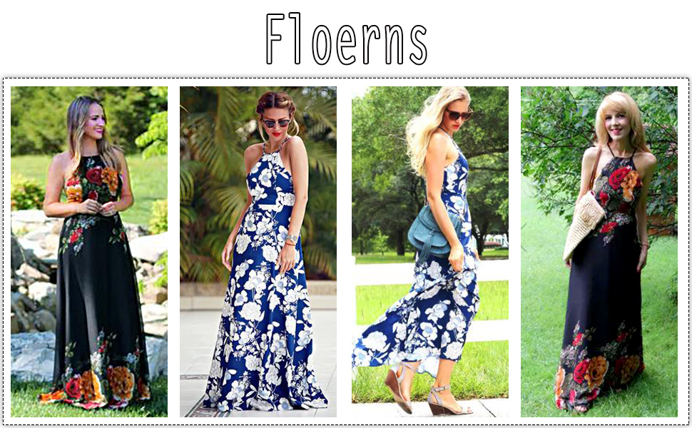 8a3c2651c44 Amazon.com  Floerns Women s Sleeveless Halter Neck Vintage Floral ...