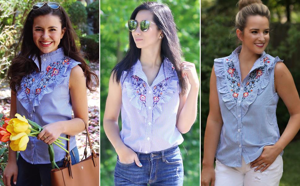 Petite Women's Halogen Embroidered Button Down Shirt, Size Medium P - Blue