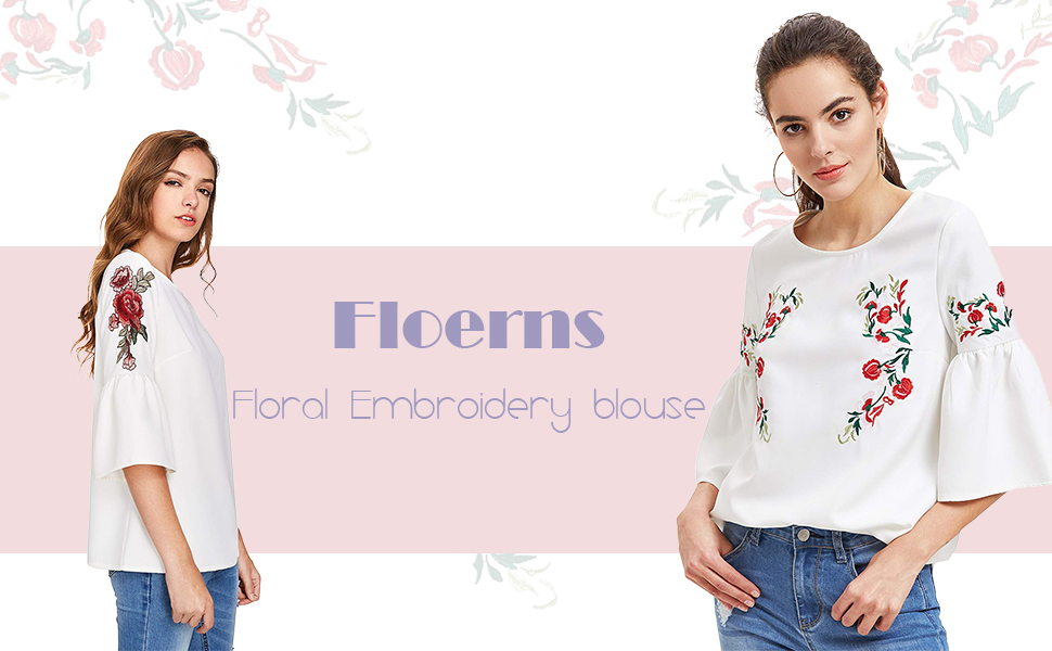 Floerns women s floral embroidery loose blouse bell sleeve top at