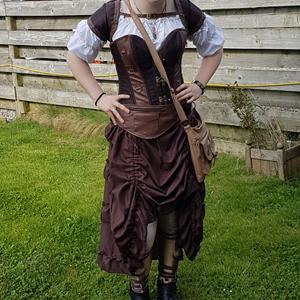 burlesque corset vest skirt set gothic steel bones vintage retro bustier dress
