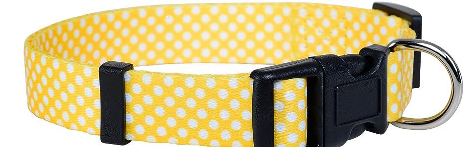 Yellow Polka Dot Dog Collar