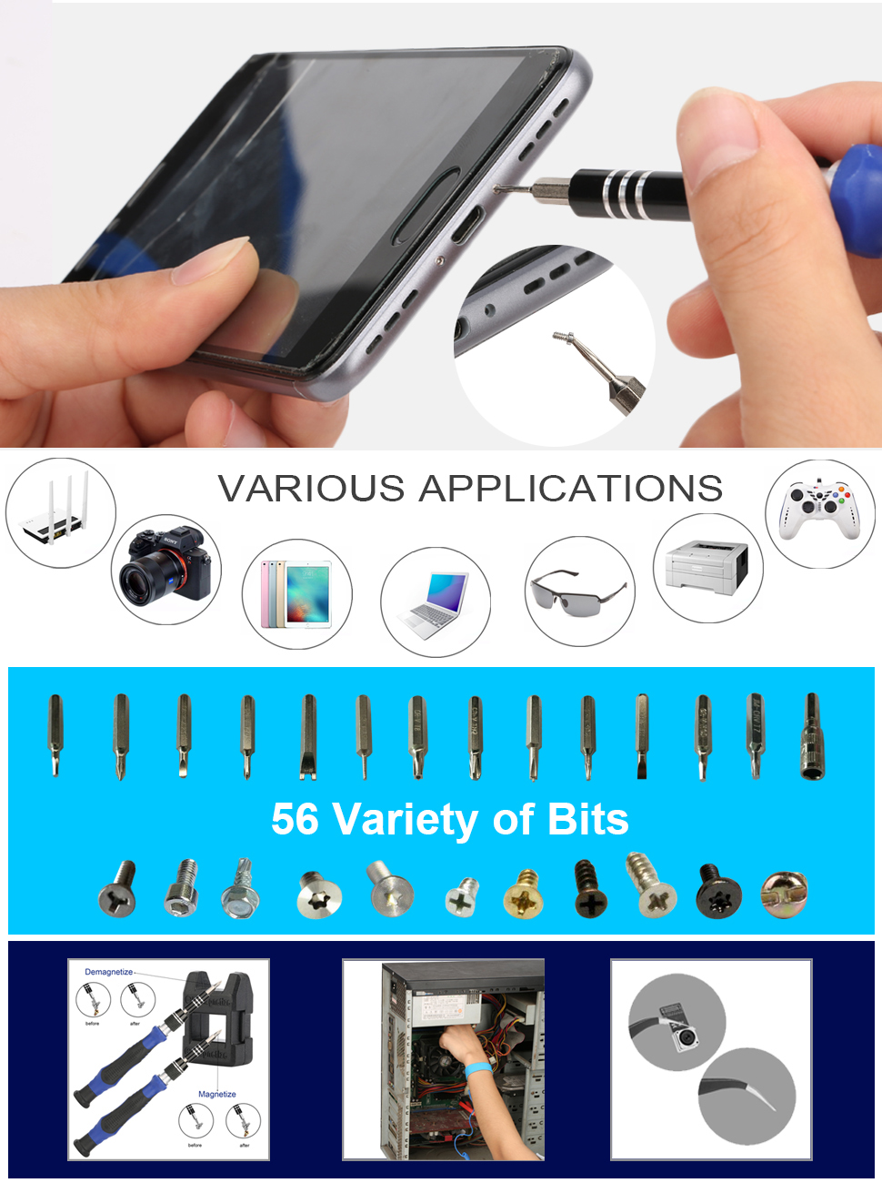 KANEED Professional Electronics Repair Tool Kit 60 in 1 Professional Screwdriver Repair Open Tool Kit with SIM Card Adapter Set for Mobile Phones