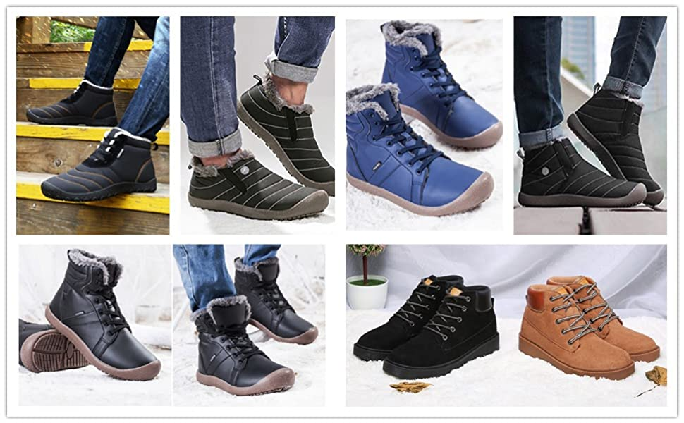 c8331373291 XIDISO Winter Boots for Men Women Water Resistant Anti-Slip Fur ...