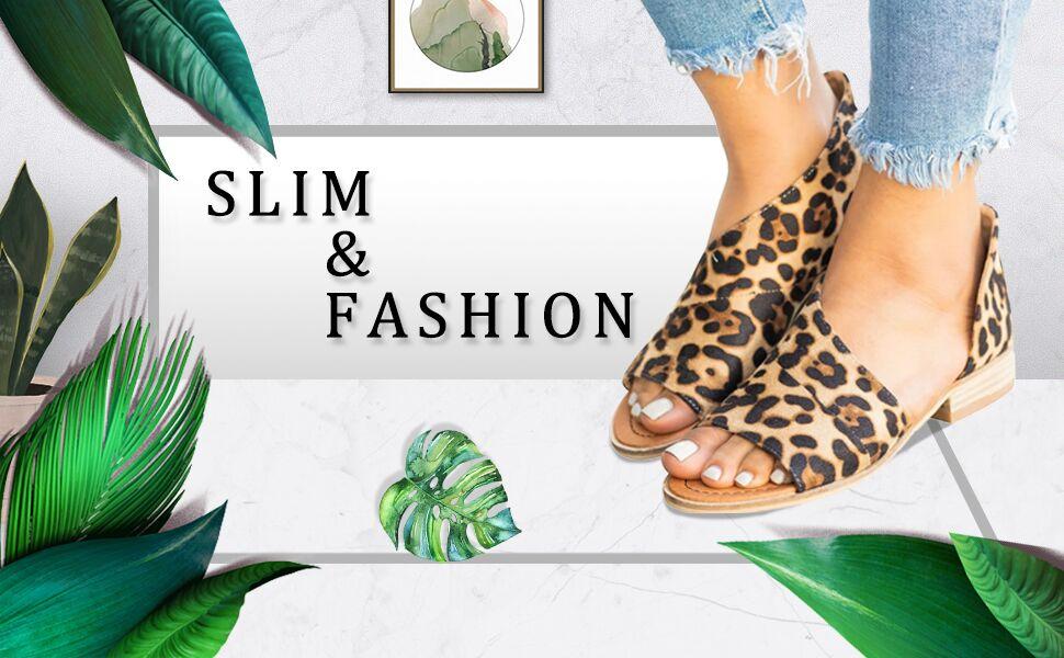 womens flat sandals cut out leopard black open toe low heels casual shoe for girls non slip footwear