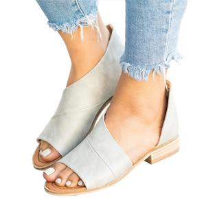 sandals for women cute open toe summer sandals comfy faux leather ankle straps memory foam shoes
