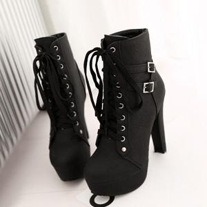 PU leather Chunky High heels waterproof platform