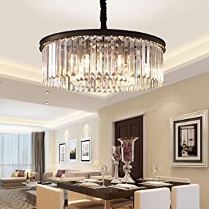Meelighting Crystal Chandeliers Modern Contemporary Ceiling Lights Fixtures  Pendant Lighting Dining Room Living Room Chandelier D21.6\