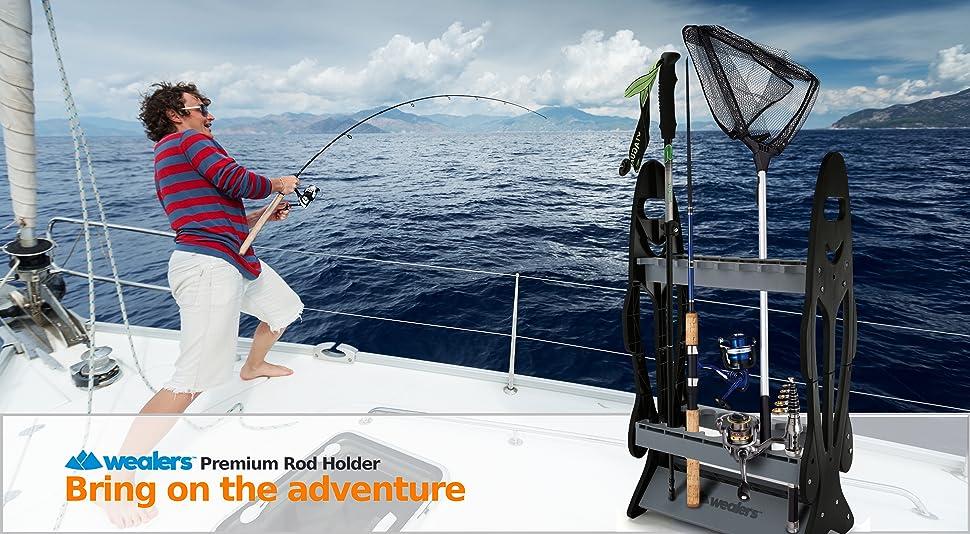 16 Fishing Rod Storage Organizer Rack   Ultra Sturdy Weatherproof Fishing  Pole Holder   Space Saving Organization Stand For Hiking Poles, Ski Poles  And ...