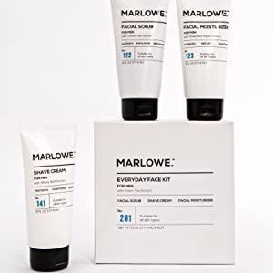 Marlowe face kit daily exfoliating wash scrub lotion moisturizer shave cream