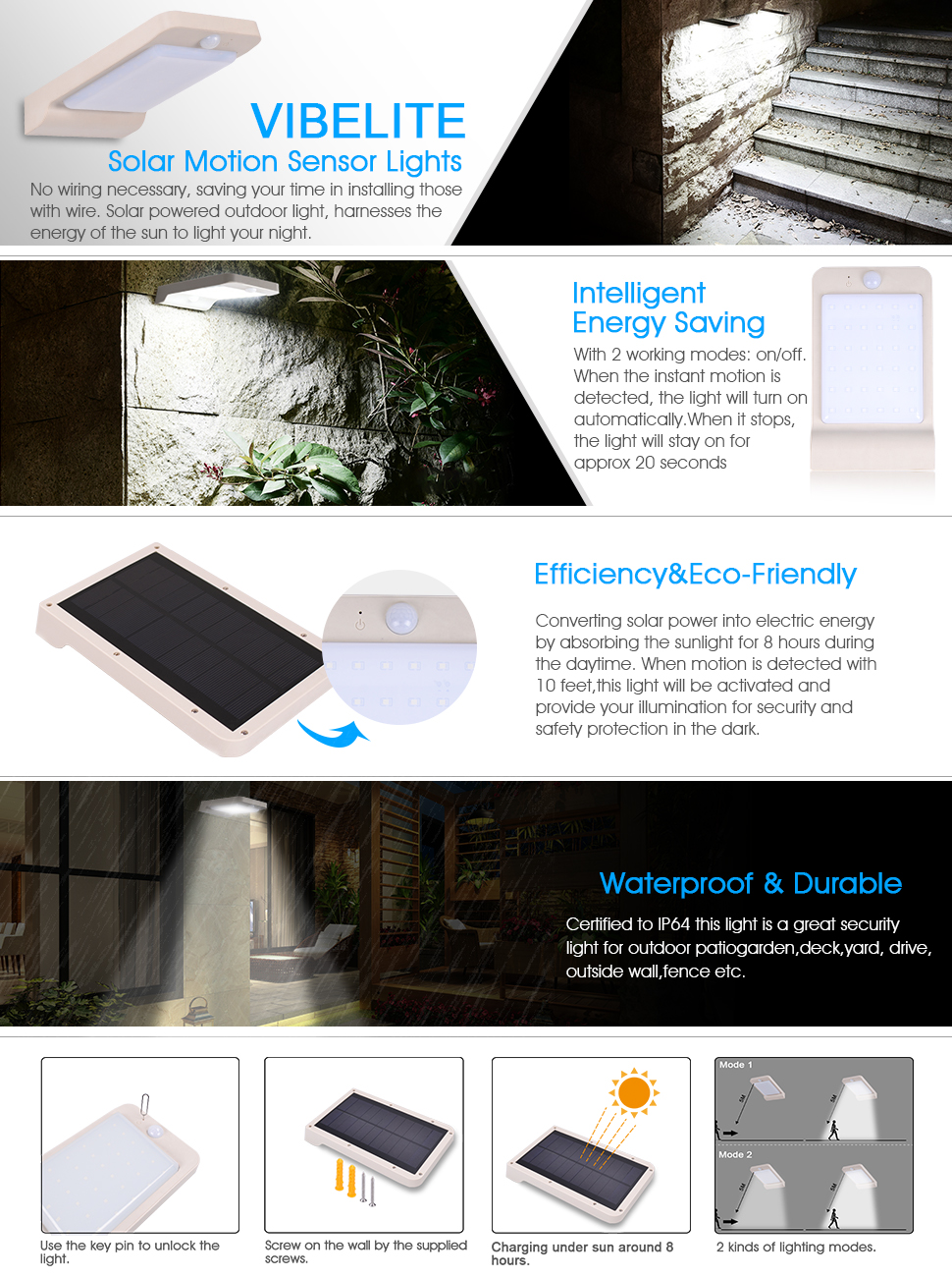 Solar Lights Vibelite 36 Led Outdoor Motion Sensor Wiring In Parallel Light Can Illuminate Your Home Yard Driveway Patio And Anywhere Which Getting Energy The Is Triggered When Someone