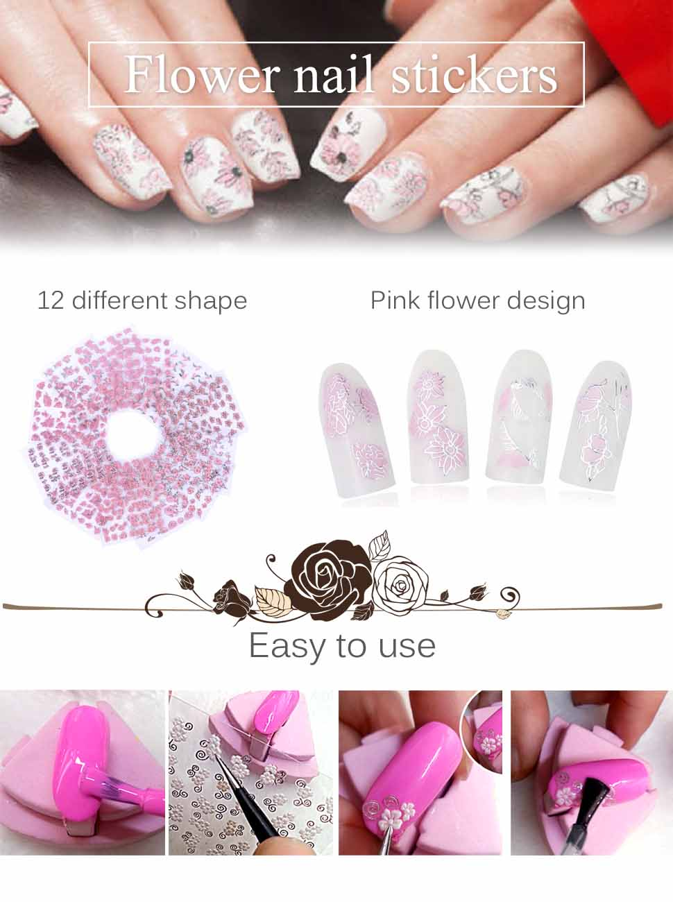 Amazon Lady Up 12 Sheets 3d Pink Rose Nail Art Stickers Water