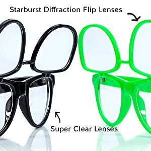 Clear Glasses with Diffraction Flip Lenses