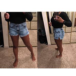 women high waist jean shorts