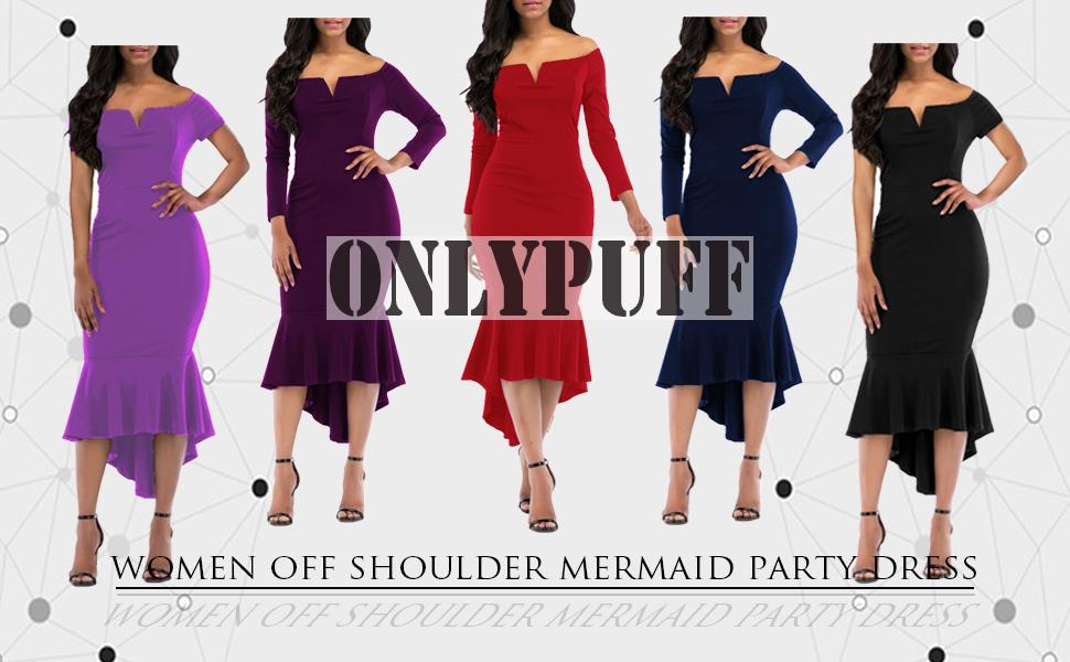 6319ecba2b18e onlypuff Fishtail Dresses for Women Midi Bodycon Dress Long Sleeve V ...