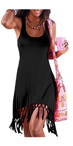 women black tank tunic beach dress with tassel