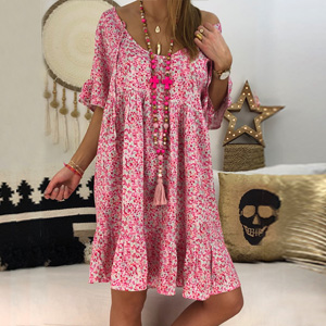 a41db3d3cf2 Cute casual loose fit summer dresses for women juniors. Summer beach sun  dresses style with short sleeves ...