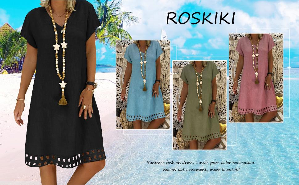 4ea3304c033 ROSKIKI Womens Short Sleeve V Neck Casual Summer Dresses Hollowed ...