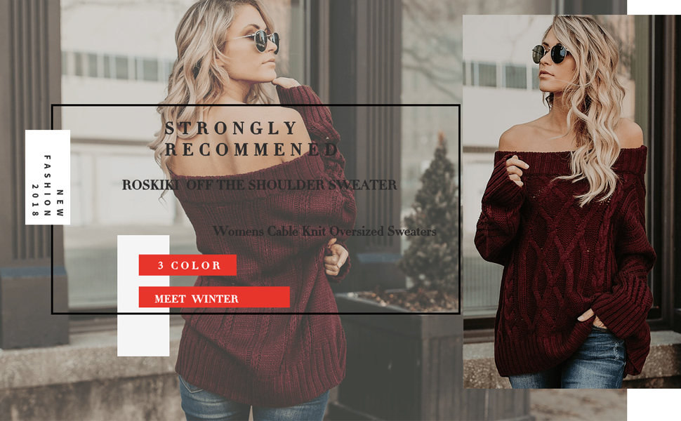 ROSKIKI Women Sexy Off The Shoulder Cable Knit Long Sleeve Casual Loose  Fashion Oversized Pullover Sweaters 750e03fbf