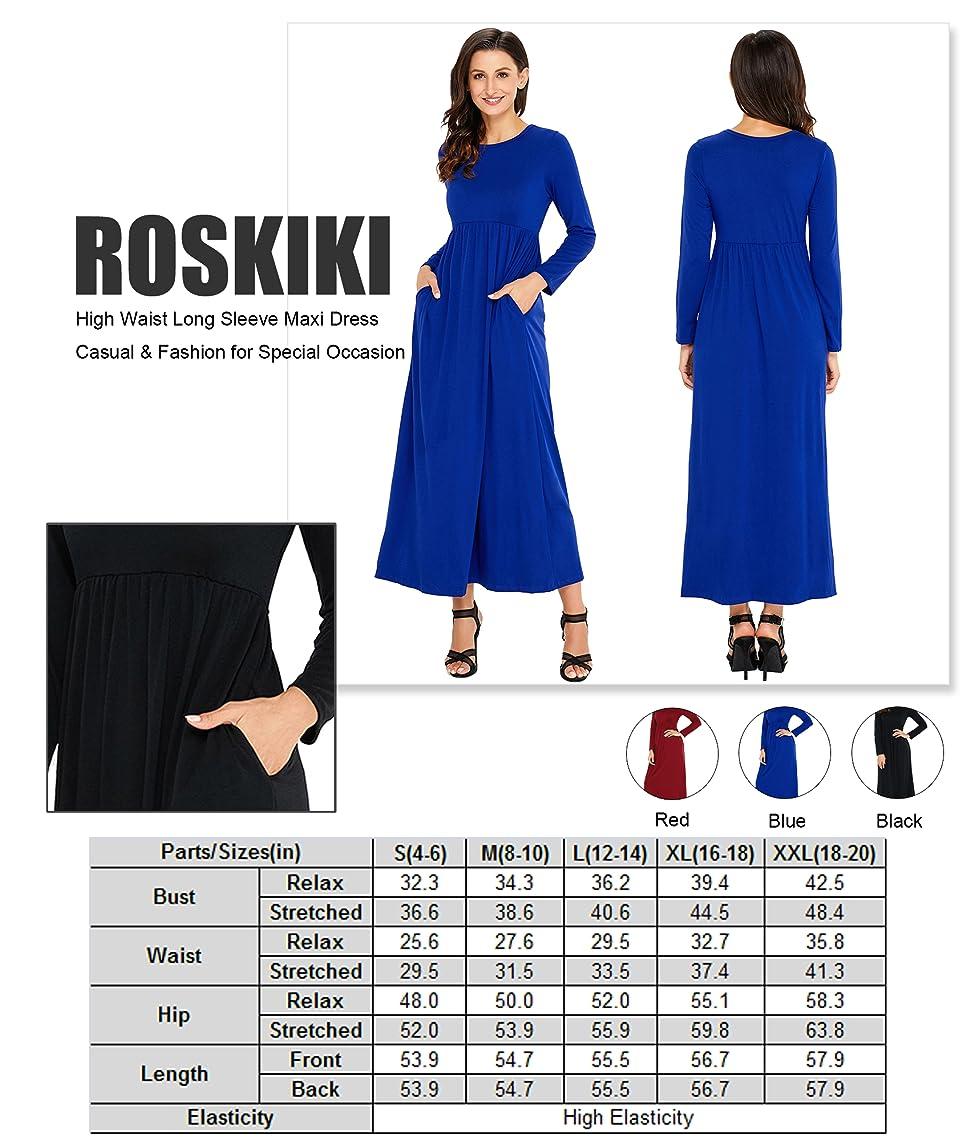 3d1184756a7 ROSKIKI Women's Long Sleeve High Waist Floor Length Casual Pockets ...