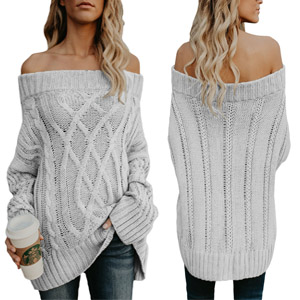 17c85480a172 ROSKIK Cold Shoulder Chunky Knit Casual Loose Long Sleeve Stylish Batwing  Outwear Boyfriend Sweaters for Women