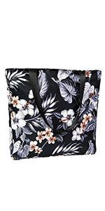 Black Floral Tote Bag for Summer