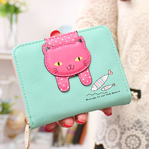 Aqua cat wallet small