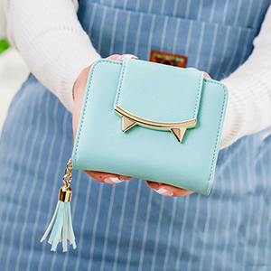 aqua cat ear coin purse