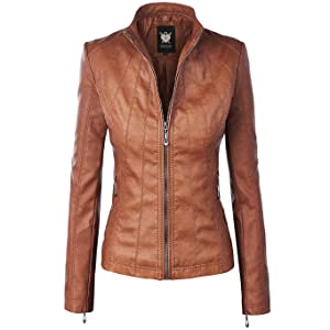 Lock and Love Womens Quilted Faux Leather Moto Biker Jacket