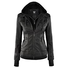 Lock and Love Womens Hooded Faux Leather Moto Biker Jacket (XS~2XL)