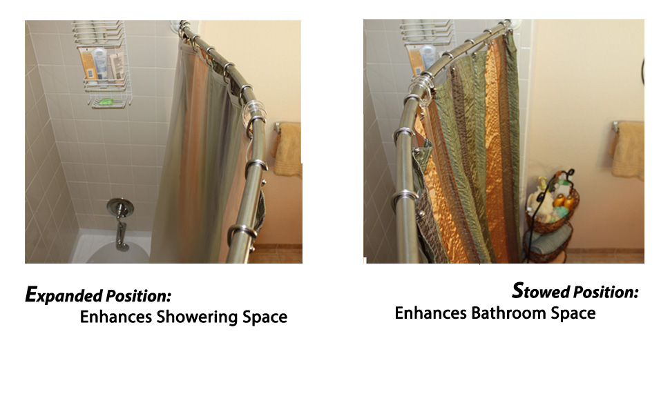 Amazon.com: No Drill Curved Shower Rod   Secure Mount Patented for