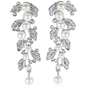 dangle   leaf   bride wedding prom chandelier crystal earrings