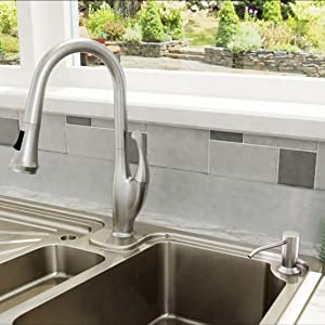 DAX Square Kitchen Sink Soap Dispenser, Deck Mount, Stainless Steel, Satin  Finish, 3-1/4 x 9-7/8 x 2 Inches (DAX-009-02)