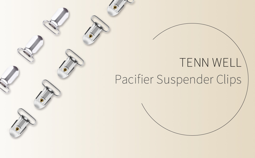 Tenn Well 30PCS Pacifier Suspender Clips, 1inch Metal Suspender Clips for Bibs and Toys with Nubs (Silver)