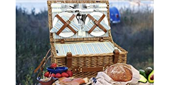 camping blanket and basket