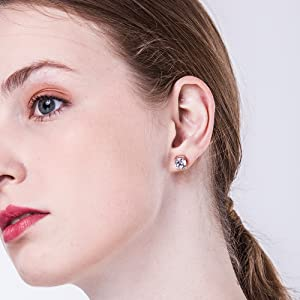 Cubic Zirconia Stud Earring For women girls men