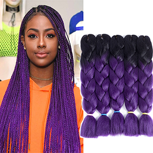 Hair Extensions & Wigs Jumbo Braids Smart Pre Stretched Braiding Hair 1pack 24 100g Jumbo Braid Kanikalon Purple Ombre Pink Black Color Synthetic Braids Full Star Hair