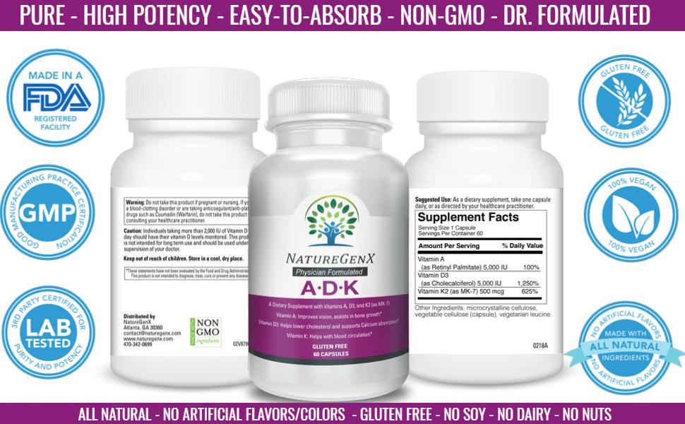 ULTRA vitamin d3 & k2 & a vitamin d3 and k2 a vitamin d+k bio t adk vitamin 5,000 codeage bullet
