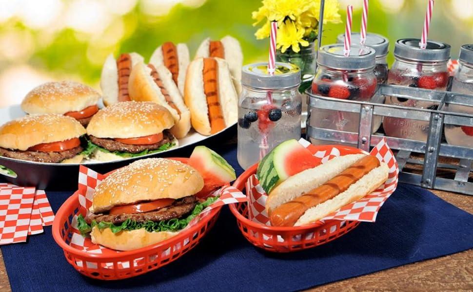 Beef jerky, hamburgers, hot dogs, snacks,