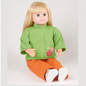 ask amy doll blond green shirt